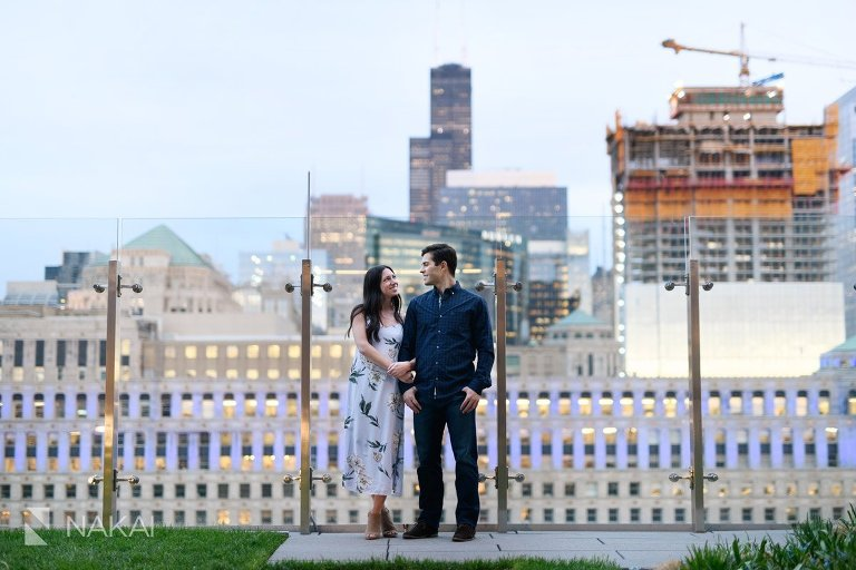 rooftop chicago river north engagement photo