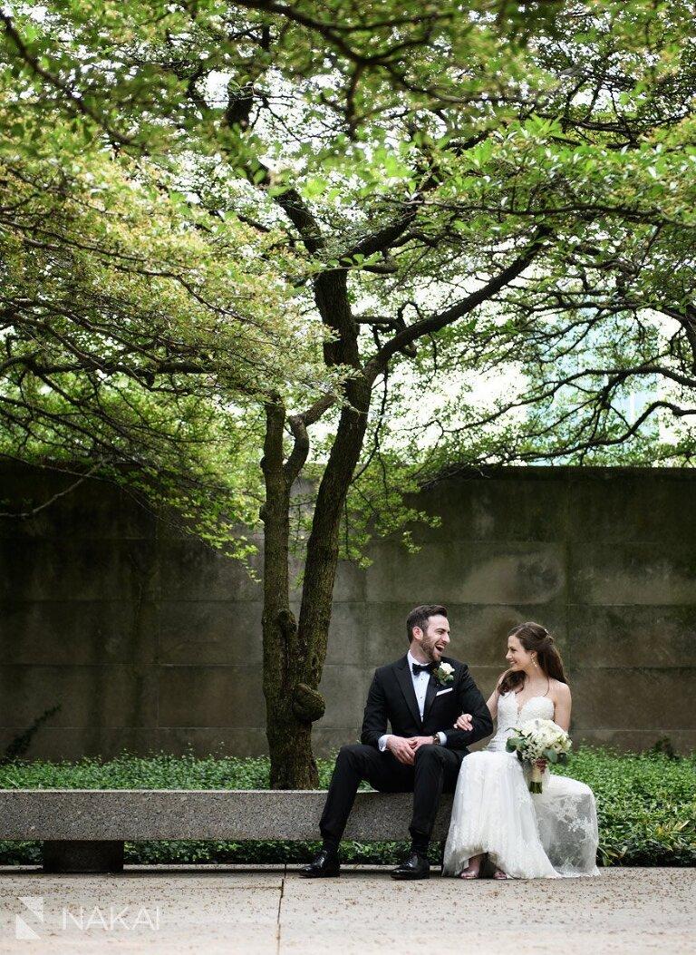 art institute chicago garden wedding picture bride groom laughing