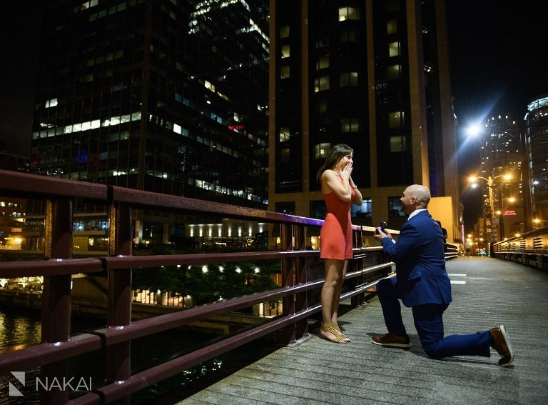 chicago proposal engaged photo on bridge