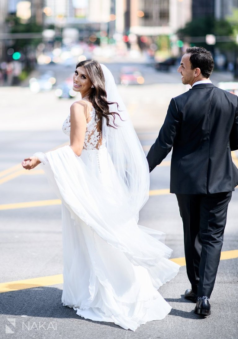 best chicago wedding photographer bride groom walking