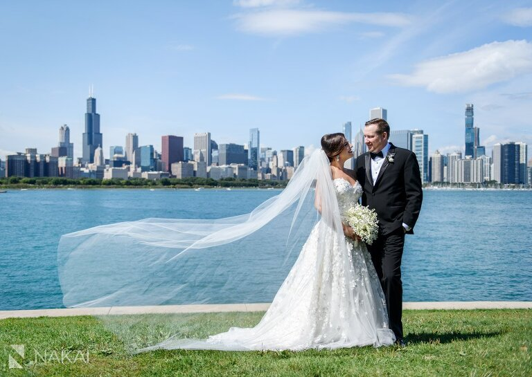 adler planetarium wedding photographer bride groom