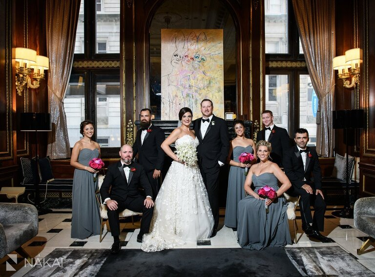 chicago Blackstone wedding photos bridal party