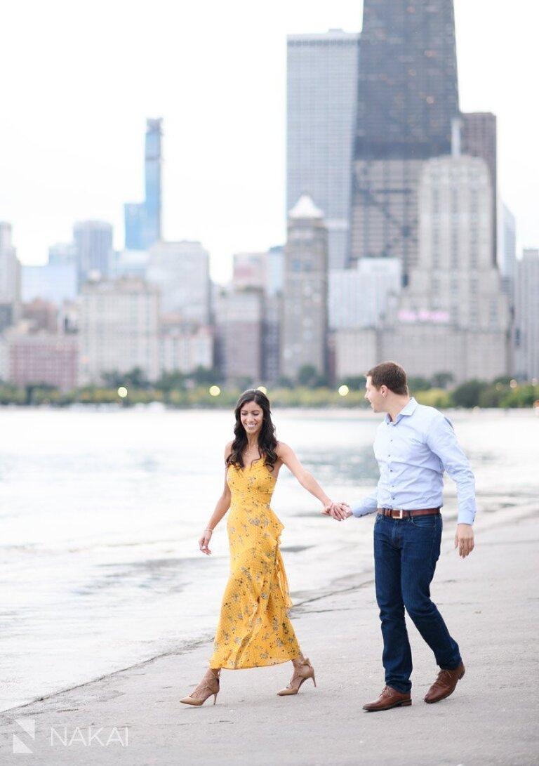 best chicago engagement photographer skyline north ave beach
