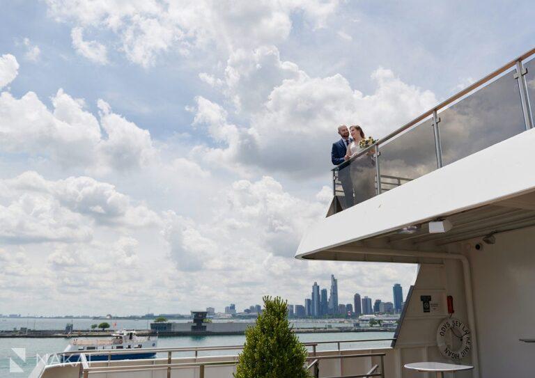 micro wedding photos chicago boat navy pier