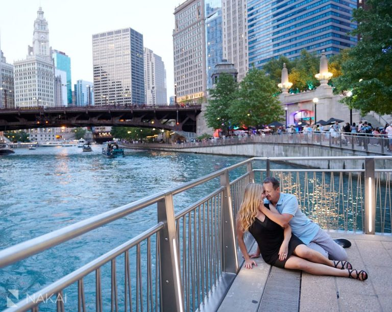 chicago riverwalk engagement photos proposal