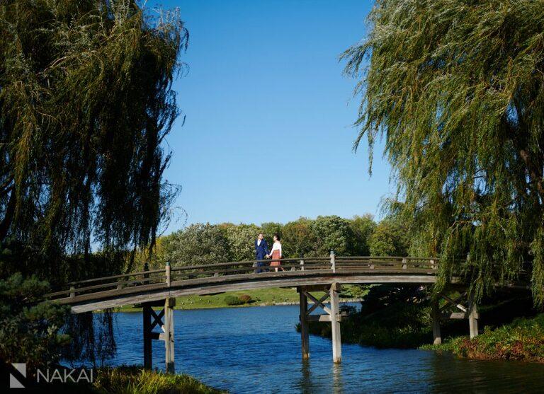 Chicago Botanic gardens engagement photo Japanese bridge