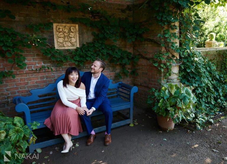 Chicago Botanic gardens engagement photographer English garden