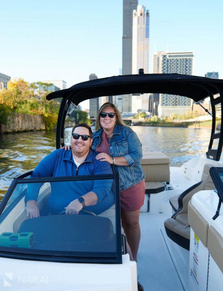 chicago engagement photos on a boat river boating