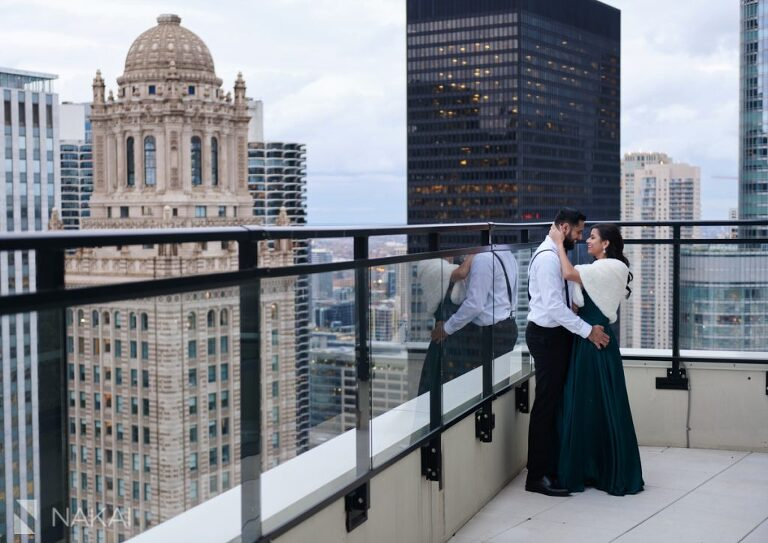 chicago indian engagement photographer rooftop