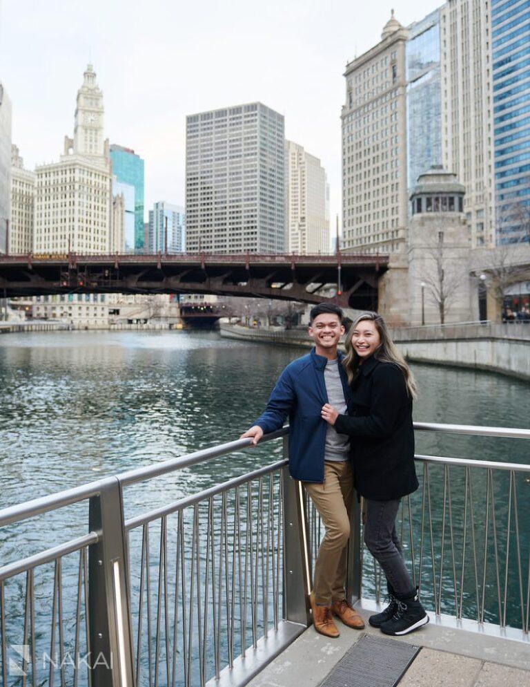 chicago proposal photographer riverwalk