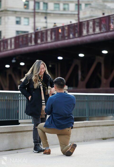 chicago proposal photography riverwalk