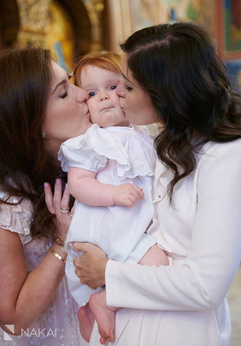 chicago Greek Orthodox baptism photos kiss