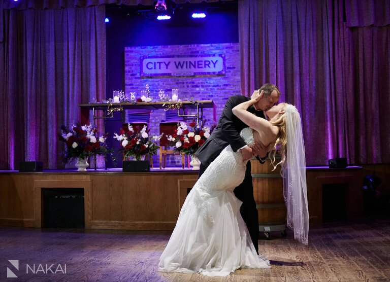 Chicago city winery reception wedding photos first dance