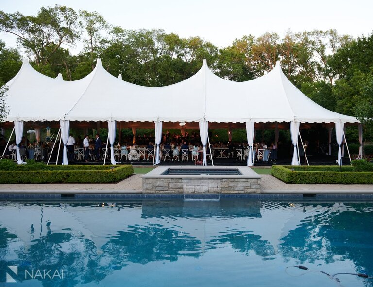 chicago north shore wedding photos backyard reception tent details