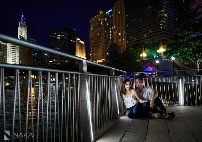 chicago riverwalk engagement photos at night