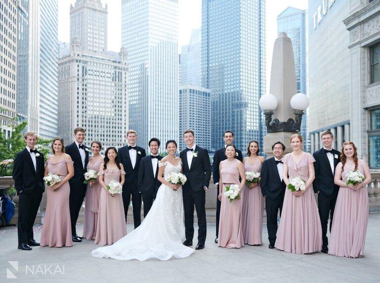 chicago Wrigley building wedding photos bridal party