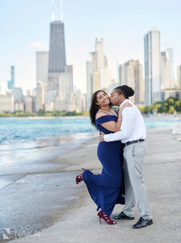 chicago skyline engagement photos black couple