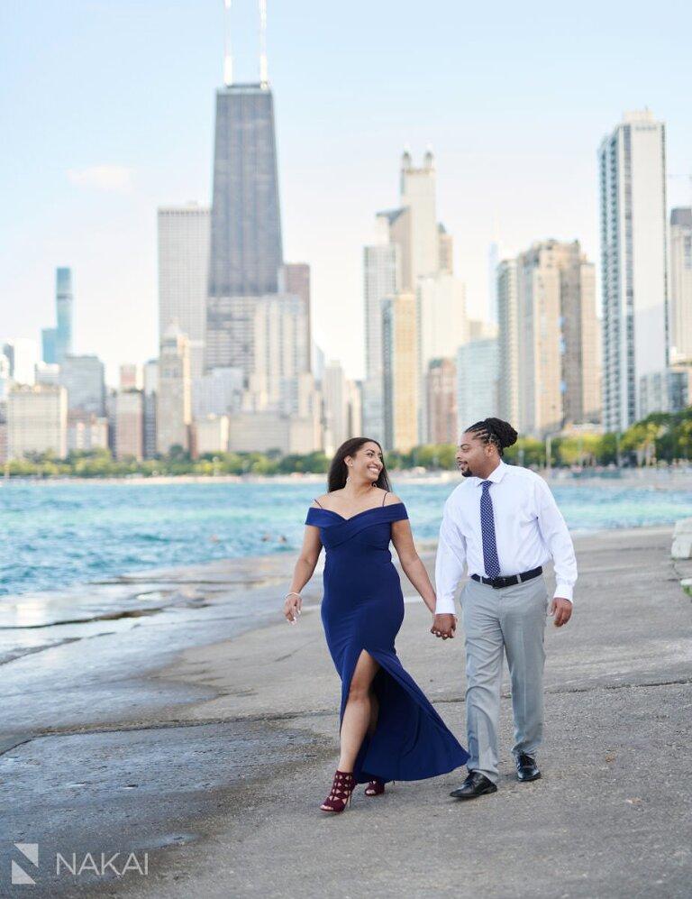 chicago skyline engagement photographer black couple