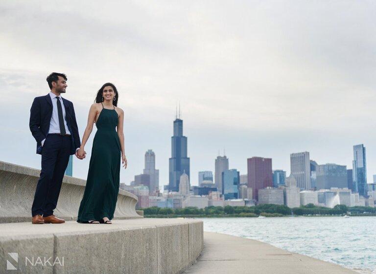 chicago skyline photographer Indian couple adler planetarium