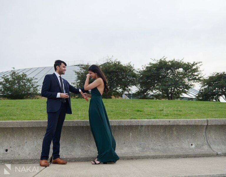 chicago skyline proposal photos Indian couple adler planetarium