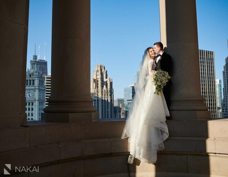 Chicago LondonHouse wedding photos cupola bride groom