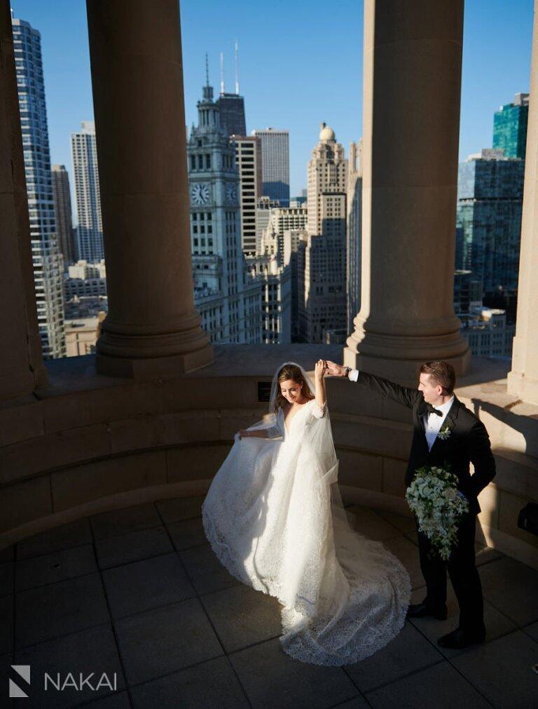 Chicago LondonHouse wedding photographer cupola bride groom