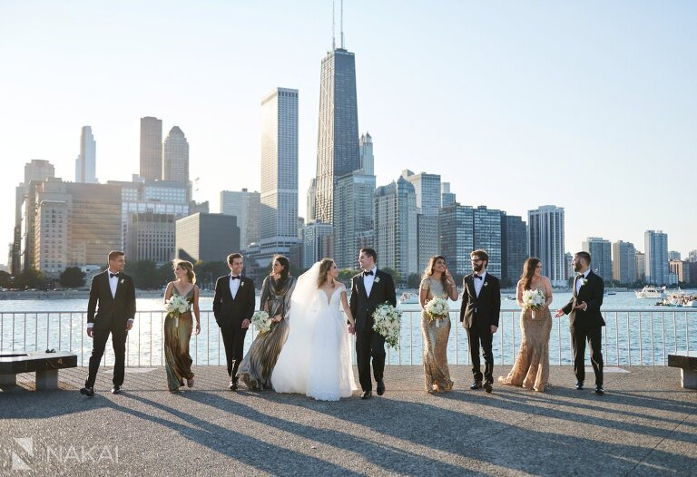 chicago olive park wedding photos skyline